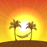 Summer Vacation. Hammock hanging between two palm trees on the beach in a warm summer Royalty Free Stock Image