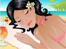 Summer vacation. Cute brunette taking her time at the beach Royalty Free Stock Photo