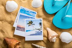 Summer Vacation Accessories On Sandy Beach Stock Image