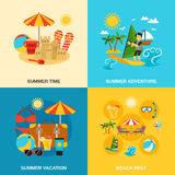 Summer Vacation And Adventure Icons Set Stock Photos
