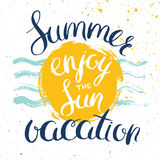 Summer vacation advertisement poster. Summer card with hand drawn lettering, vector poster for summer vacation advertisement Stock Images
