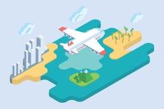 Summer Vacation. Airliner Travel Vector Illustration. Stock Photos