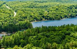 Prime view of Dorset from atop the Dorset Lookout Tower. Summer vacation in Algonquin Highlands an idyllic hilltop view Stock Images