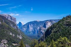 Summer Vacation And Travel To The USA. Valley Of Yosemite And The Rock Of Half Dome Royalty Free Stock Image