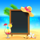Summer vacation background with cocktail and menu board Royalty Free Stock Images
