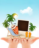 Summer vacation background. Hands holding up holiday items. Royalty Free Stock Photos