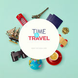 Summer vacation background mock up design. Objects related to travel and tourism around blank paper. View from above