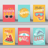 Summer vacation background. vector. Summer, holiday, vacation poster set. flat design. can be use for greeting and invitation card.  background , backdrop Stock Photo