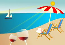 Summer vacation background. Vector illustration of summer beach Royalty Free Stock Photo