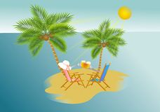 Summer vacation background. Vector illustration of island with  palm trees and two chairs celebrating Stock Image