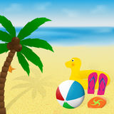 Summer vacation banner design. Palm tree, beachball, flip flops, rubber duck and flying disk on a tropical sea beach. Summertime greeting card. Summer vacation Stock Images