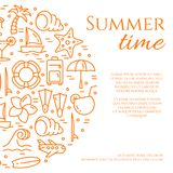 Summer vacation banner with orange thin line elements and space for text isolated on white background. vector illustration