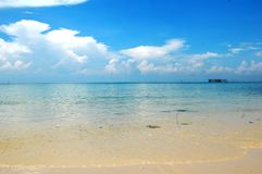 Summer Vacation Beach. Landscape of Andaman Sea taken from the beautiful beach of Langkawi Island, Malaysia Royalty Free Stock Photos