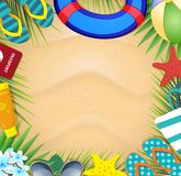 Summer vacation beach accessories and palm leaves on sandy beach background. Top view of summer holidays border frame template with copy space. Vacation royalty free illustration