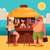 Summer vacation, a beach bar by the sea Stock Images