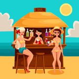 Summer vacation, a beach bar by the sea Stock Photography