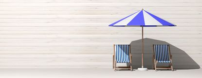 Summer vacation. Beach chairs and umbrella on wooden wall background, banner. 3d illustration stock illustration