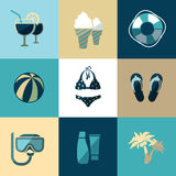 Summer vacation and beach flat vector icons Stock Photos