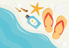 Summer vacation beach with flip flops Royalty Free Stock Images