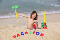 Summer vacation on the beach: happy child Royalty Free Stock Images