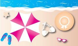Summer vacation beach header or banner. Header banner event beach summer vacation vector illustration