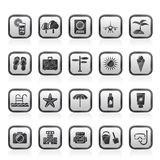summer, vacation and beach icons Stock Image