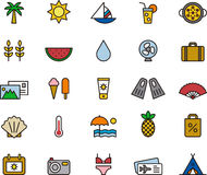 Summer, vacation and beach icons Royalty Free Stock Photos