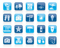 Summer, vacation and beach icons Royalty Free Stock Image