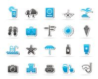 Summer, vacation and beach icons Stock Photography