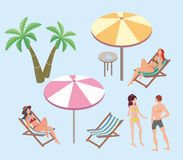 Summer vacation, beach resort. Women and a man resting on the beach. Beach umbrellas, deck chairs, palm trees. Vector illustration, isolated on blue background Stock Image