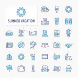 Summer Vacation Minimal Icon Set stock illustration