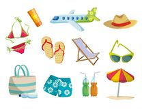 Summer, vacation on the beach, travel. Set of colored vector icons on white. Background Royalty Free Stock Image