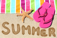 Summer vacation beach travel text Royalty Free Stock Image