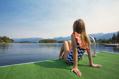Summer Vacation at a beautiful mountain lake Stock Image