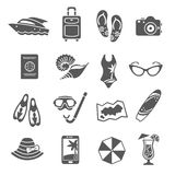 Summer vacation black icons collection Royalty Free Stock Image