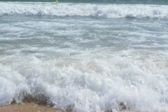 Summer landscape from the sea with lovely waves royalty free stock photos