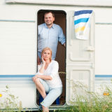 Summer vacation in camper stock photos