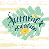 Summer vacation card with lettering. Poster for summer vacation with palm leaves, flowers an hand drawn lettering Stock Photo