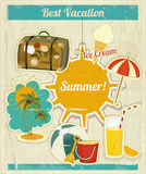 Summer Vacation Card in Vintage Retro Style. Summer Vacation Card in Vintage Style. Retro Travel Postcard with Summer Items in Old Style. Illustration Stock Photo