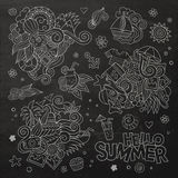 Summer and vacation chalkboard vector symbols Royalty Free Stock Image