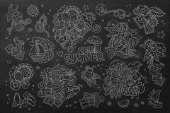 Summer and vacation chalkboard vector symbols Royalty Free Stock Images