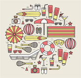 Summer vacation circle concept in thin lines style design. Beach umbrella, lifebuoy, diving, equipment, towel, ocean Royalty Free Stock Photo