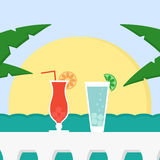 Summer vacation with cocktails, sun and sea. Royalty Free Stock Photo