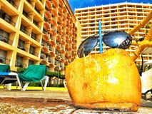 Summer vacation. Coco en el hotel royalty free stock photography