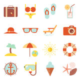 Summer vacation color beach resort accessorize vector symbols icon flat design template illustration. Summer vacation beach resort accessorize vector symbols Stock Photography