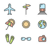 Summer vacation colored icons set 01. Airplane, umbrella, sunglasses, train and other linear symbols stock illustration