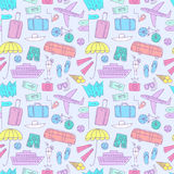 Summer vacation  colorful doodle seamless pattern. Summer vacation cartoon colorful doodle pattern including  elements: transport; suitcases and different beach Royalty Free Stock Photos