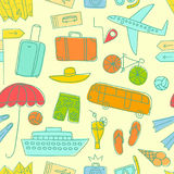 Summer vacation  colorful doodle seamless pattern. Summer vacation cartoon colorful doodle pattern including  elements: transport; suitcases and different beach Stock Images