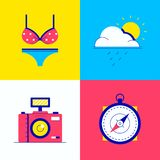 Summer vacation - colorful flat design style elements. High quality unusual collection of bright images. A swimsuit, camera, the sun and cloud, compass vector illustration