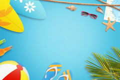 Summer vacation concept. Blue background with free space for text Royalty Free Stock Images
